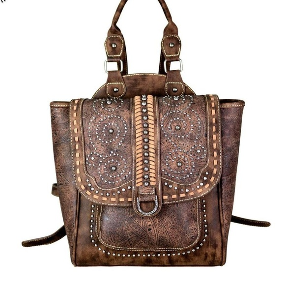 buy cheap enjoy discount price on wholesale Western Vintage Style Studded Backpack Purse Brown Boutique